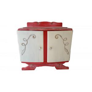 Chevet en bois rouge et crème