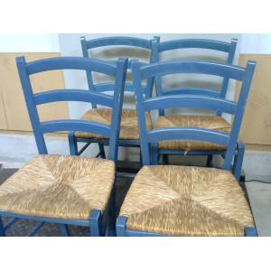 Lot de 4 chaises en paille vertes