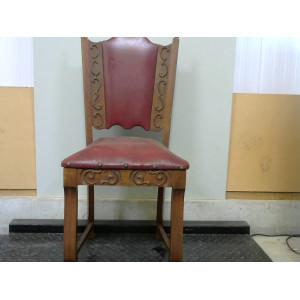 Chaise en boir et cuir rouge