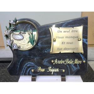 Plaque funéraire noire et bleue
