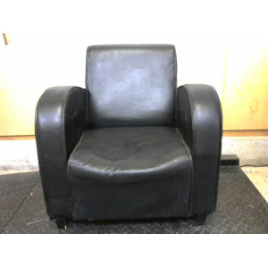 Petit fauteuil cuir noir