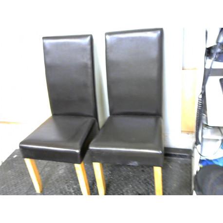 Lot de 2 chaises en simili marron