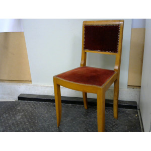Chaise assise velours rouge