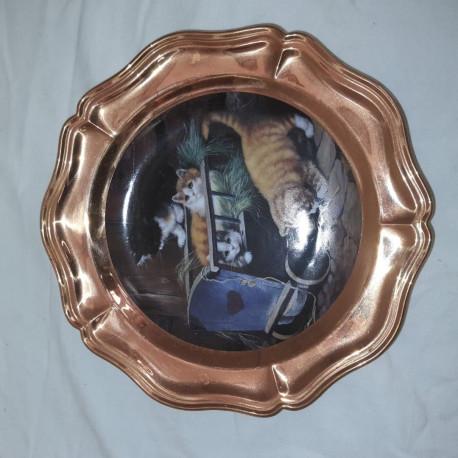 Assiette décorative en cuivre