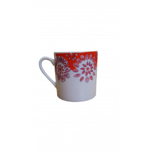 Tasse en porcelaine orange et blanche