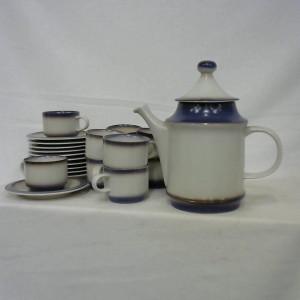 Service à café en grès gris- bleu